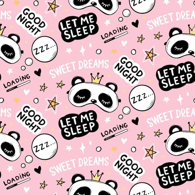 クラウンスリープマスク、おやすみレタリング引用、星と甘い夢のフレーズでかわいいパンダのクマとのシームレスなパターン。漫画の動物背景、テクスチャ。 Premiumベクター