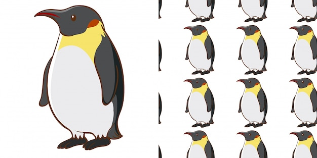 Seamless pattern with cute penguin Free Vector