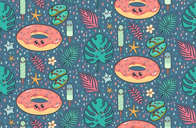 Seamless pattern with cute pool float donut, slates, ice creams, and tropical leaves in japan kawaii style Premium Vector