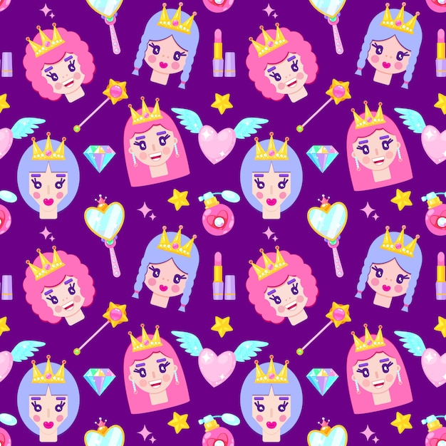 Seamless pattern with cute princesses, diamonds,hearts,mirrow and stars on white background Premium Vector