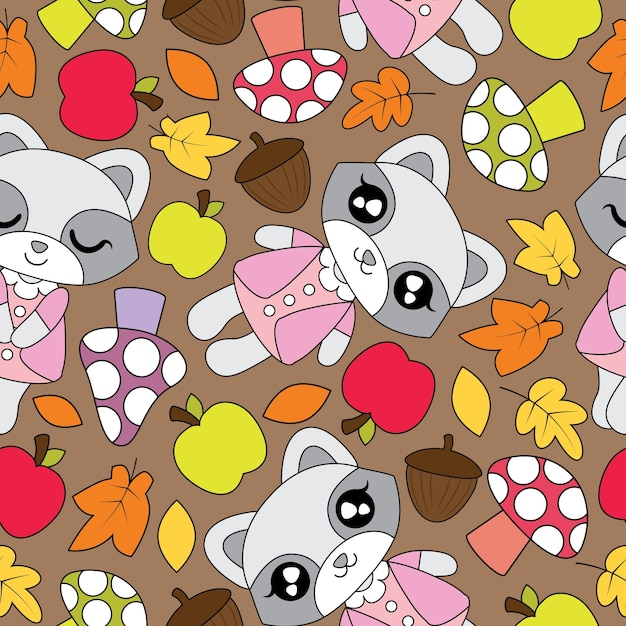 Seamless Pattern With Cute Raccoon Girls Apple Mushroom And Mapple Leaves On Brown