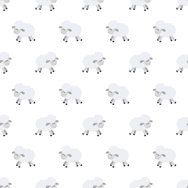 Seamless Pattern With Cute Sheep Vector Background For