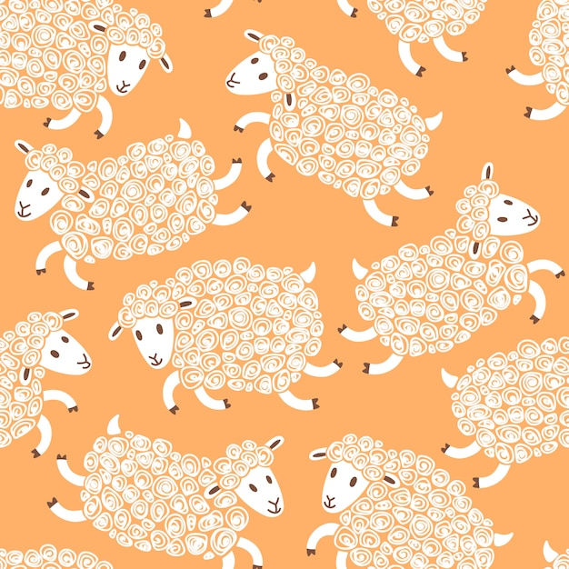 Seamless pattern with cute sheep. Premium Vector