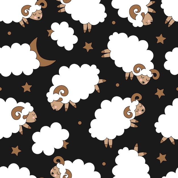 Seamless pattern with cute sheep Premium Vector