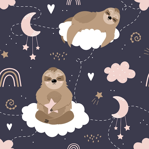 Seamless pattern with cute sloths on the clouds. Premium Vector