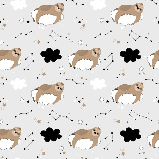 Seamless pattern with cute sloths on the clouds Premium Vector