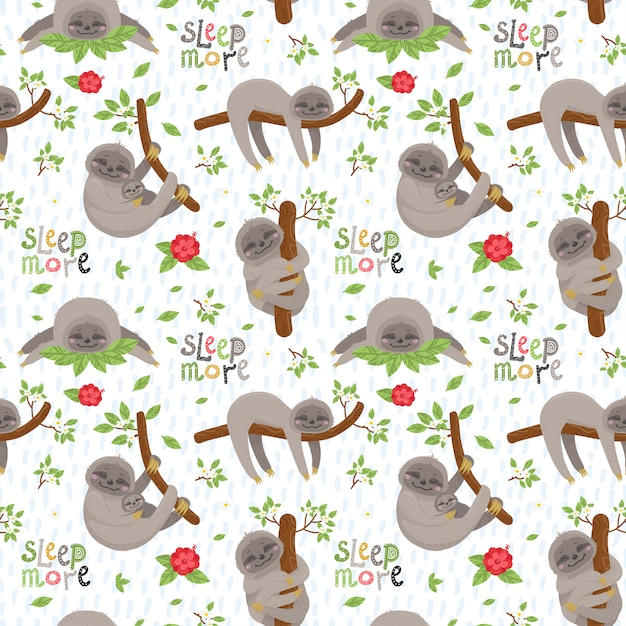 Seamless pattern with cute sloths Premium Vector