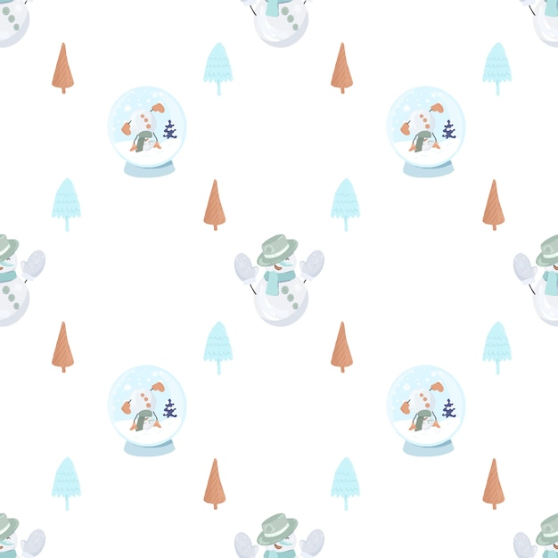 Seamless pattern with cute snowman in a knitted mittens, simple christmas trees and snowglobe Premium Vector