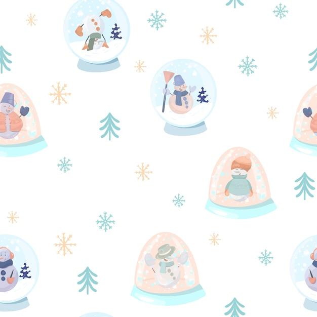 Бесшовный фон с милыми снеговиками в снежных шарах, простых елках и снежинках Premium векторы