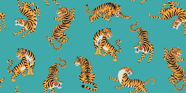 Seamless pattern with cute tigers on background. Premium Vector