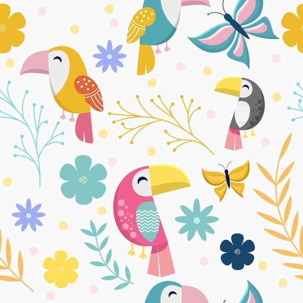 Seamless pattern with cute toucan and butterfly Premium Vector
