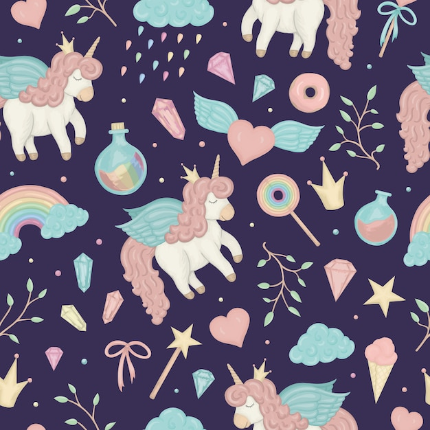 Seamless pattern with cute watercolor style unicorns, rainbow, clouds, donuts, crown, crystals Premium Vector