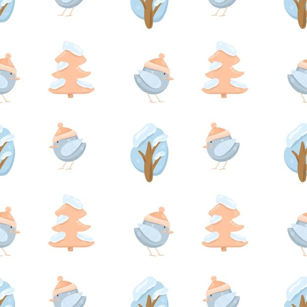 Бесшовный фон с милыми зимними птицами и деревьями Premium векторы