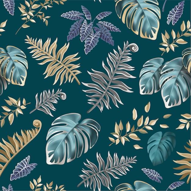 熱帯植物の暗い葉とのシームレスなパターン。 無料ベクター
