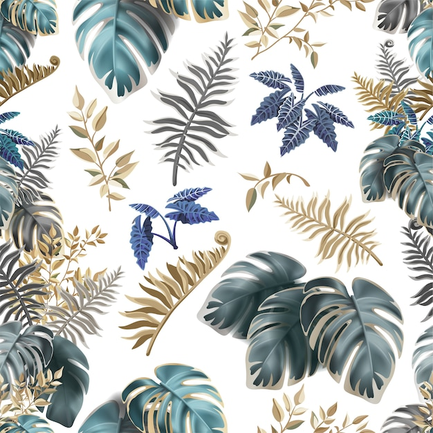 Бесшовный фон с темными тропическими листьями. Бесплатные векторы