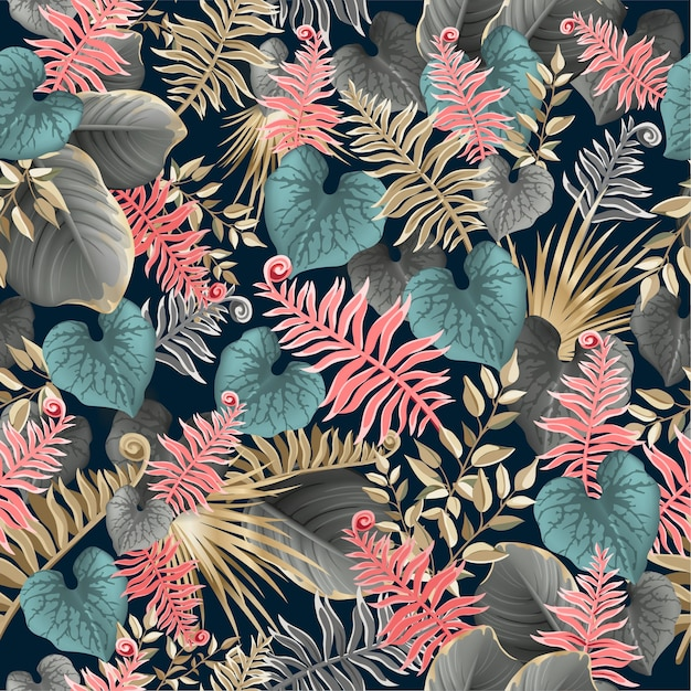 Seamless pattern with dark tropical leaves. Free Vector