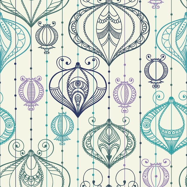 Seamless pattern with decorative elements. Premium Vector