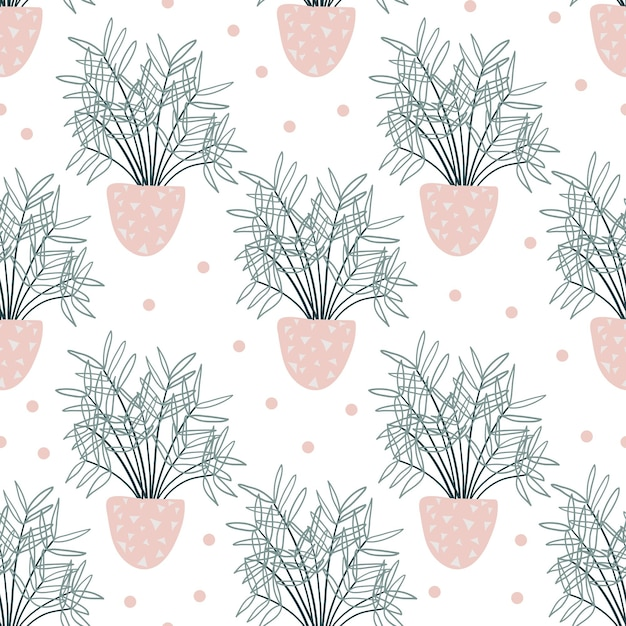 Seamless pattern with decorative houseplants. Premium Vector
