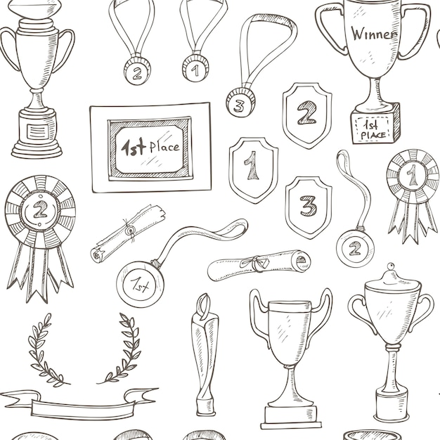 Seamless pattern with decorative sketch award with trophy, medal, winner prize, champion cup, ribbon. Premium Vector