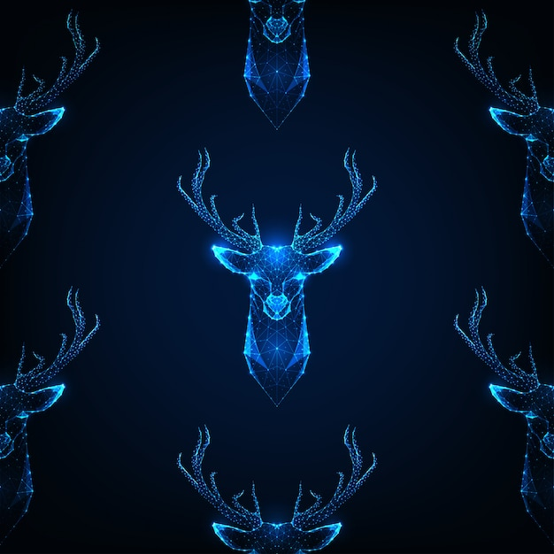 Seamless pattern with deer head with antlers on dark blue color. Premium Vector
