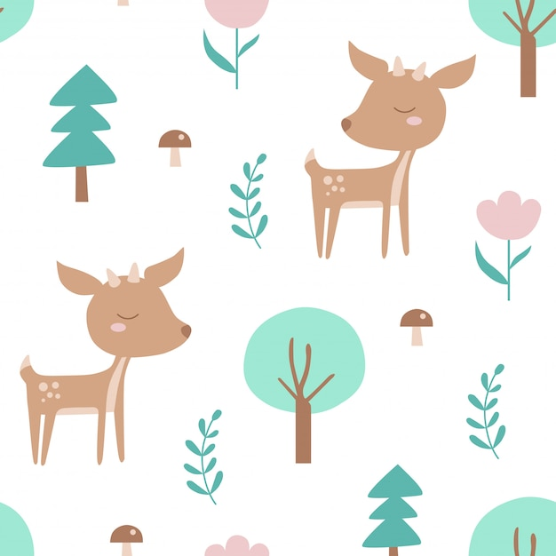 Seamless pattern with deer and plants. Premium Vector