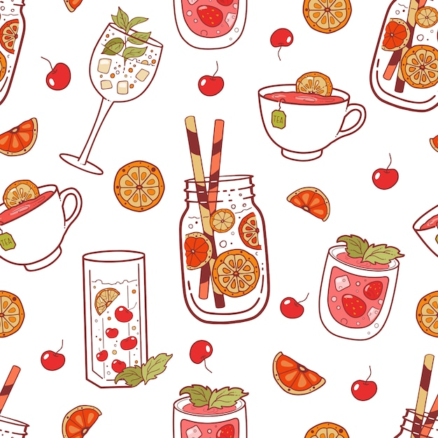 Seamless pattern with different color beverages Premium Vector