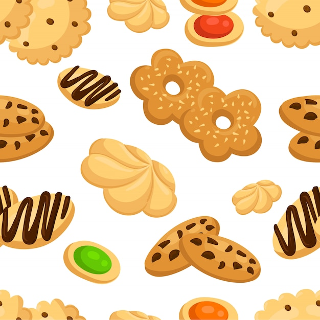 Seamless pattern with different cookies in cartoon style  illustration on white background web site page and mobile app Premium Vector
