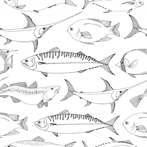 Seamless pattern with different fishes. Premium Vector