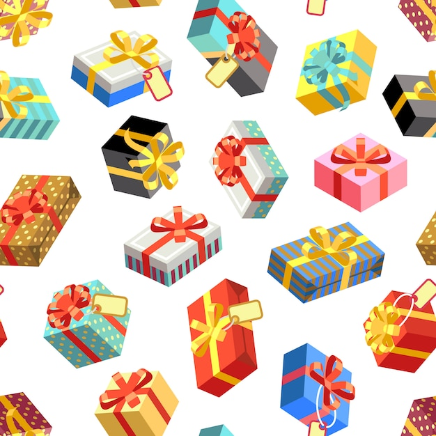 Seamless pattern with different giftboxes colored. flat-style vector illustration. gift seamless pattern, holiday birthday package gift box Premium Vector