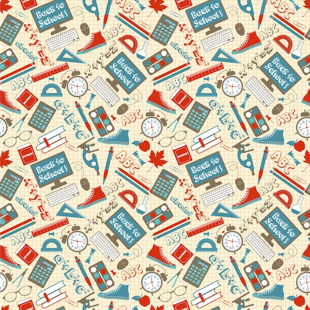 Seamless pattern with different school supplies cage. Premium Vector