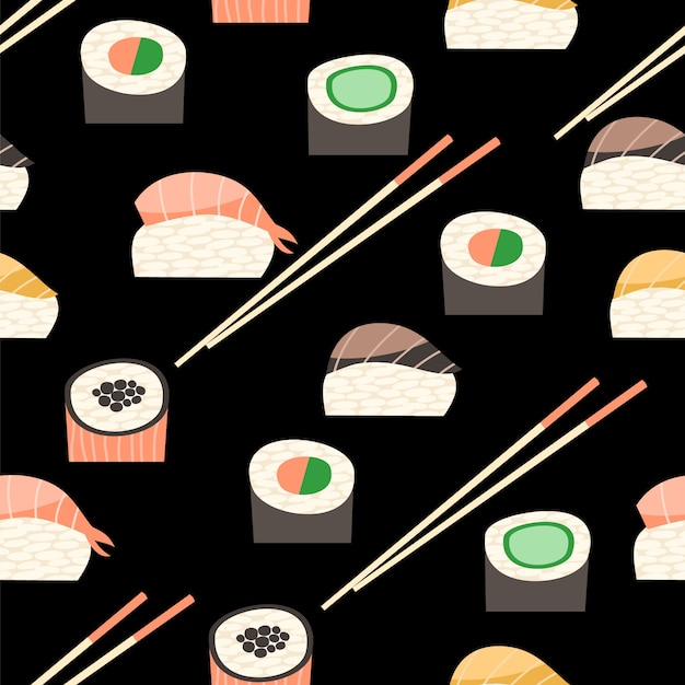 Seamless pattern with different types of sushi. Premium Vector