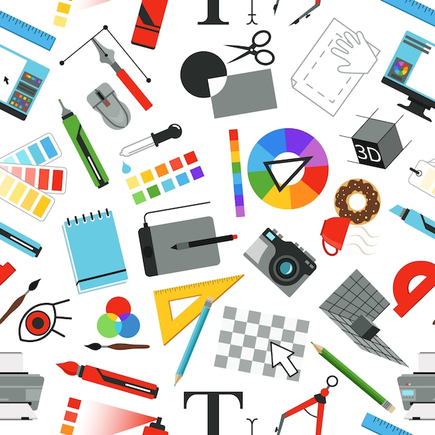 Seamless pattern with different work tools Premium Vector