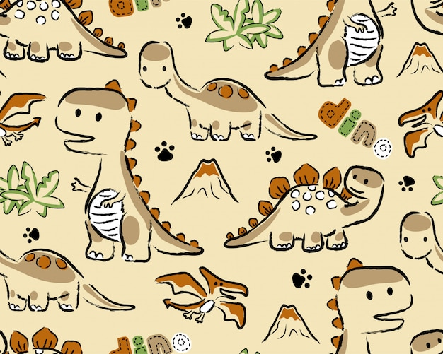 Seamless pattern with dinosaurs cartoon Premium Vector