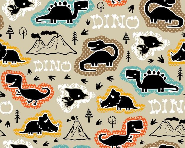 Бесшовный фон с силуэтом динозавров Premium векторы