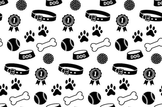 Бесшовные с собакой вещи. воротник, чаша, шарики, кости, отпечатки лап и награда Premium векторы