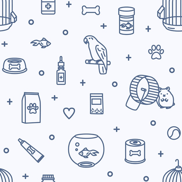 Seamless pattern with domestic animals and pet shop goods for care, nutrition, treatment Premium Vector