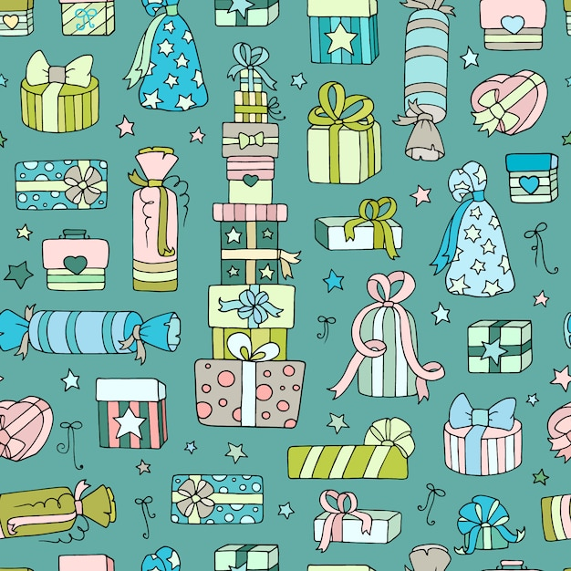 Seamless pattern with doodle gift boxes Premium Vector
