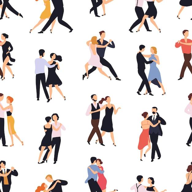 Бесшовный фон с элегантными парами, танцующими танго или милонга на белом фоне Premium векторы