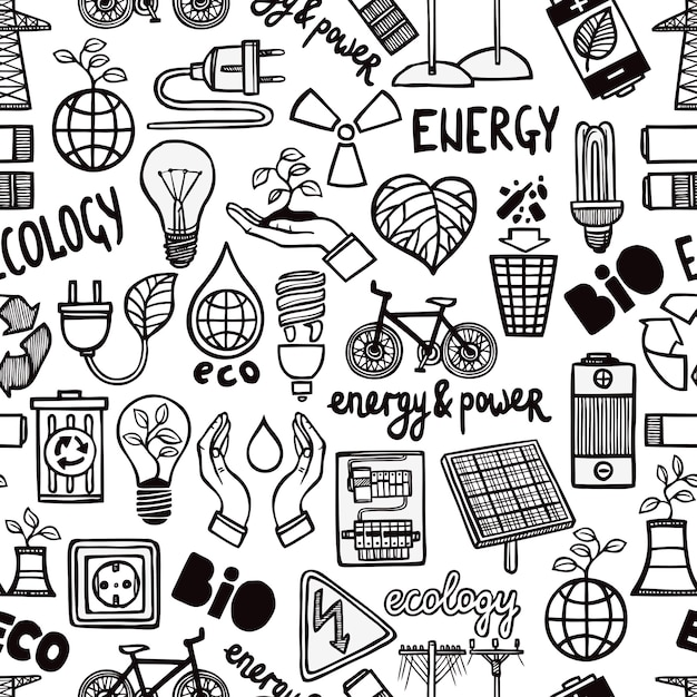 Seamless pattern with energy symbols Free Vector