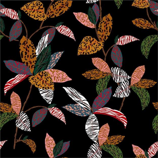 야생 정글 분위기의 표범, 치타, 얼룩말 및 호랑이 인쇄 : 이국적인 식물과 원활한 패턴이 동물의 피부로 채워집니다. 프리미엄 벡터