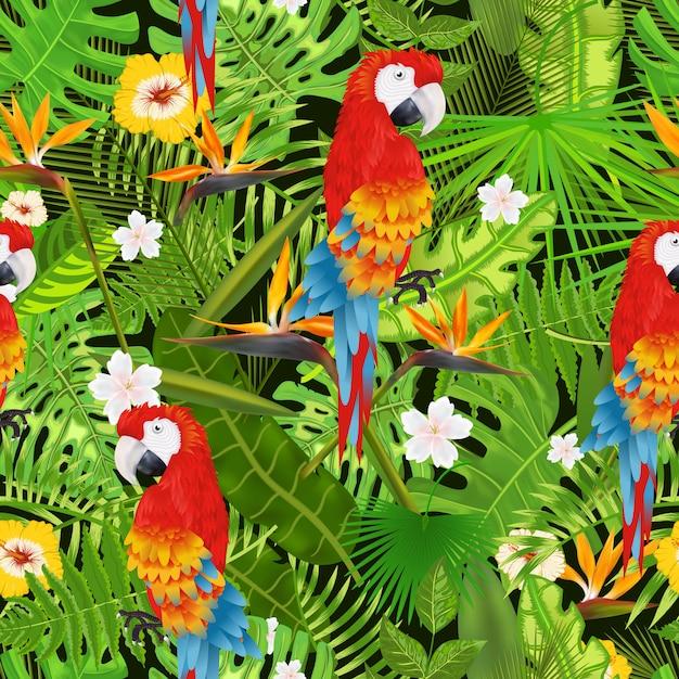 エキゾチックな熱帯の葉、花、オウムのイラストとのシームレスなパターン Premiumベクター