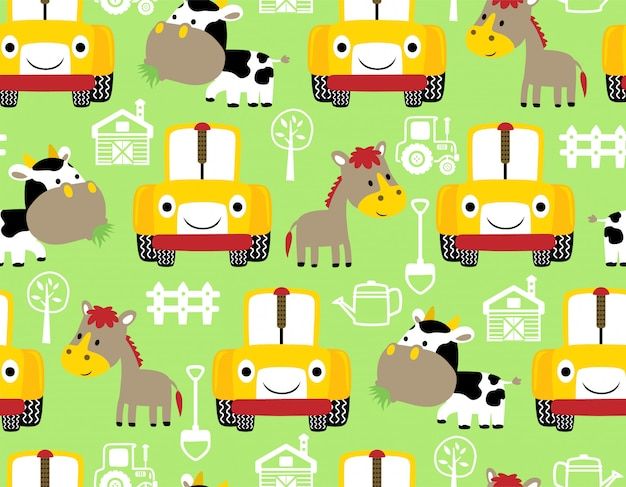 Seamless pattern with farm animals cartoon and tractor Premium Vector
