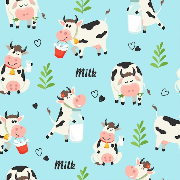 Seamless pattern with farm cows and milk bottle Premium Vector