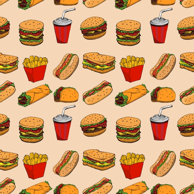 Seamless pattern with fast food. hamburger, hot dog, burrito, sandwich.  element for poster, wrapping paper.  illustration Premium Vector