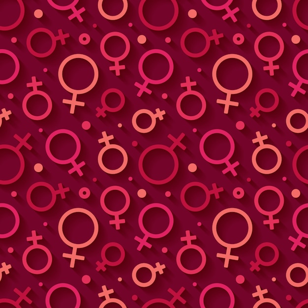 Seamless pattern with the female gender symbol. Premium Vector