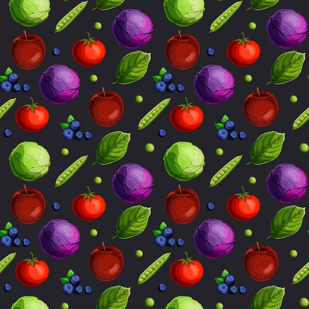 Seamless pattern with fesh vegetables Premium Vector