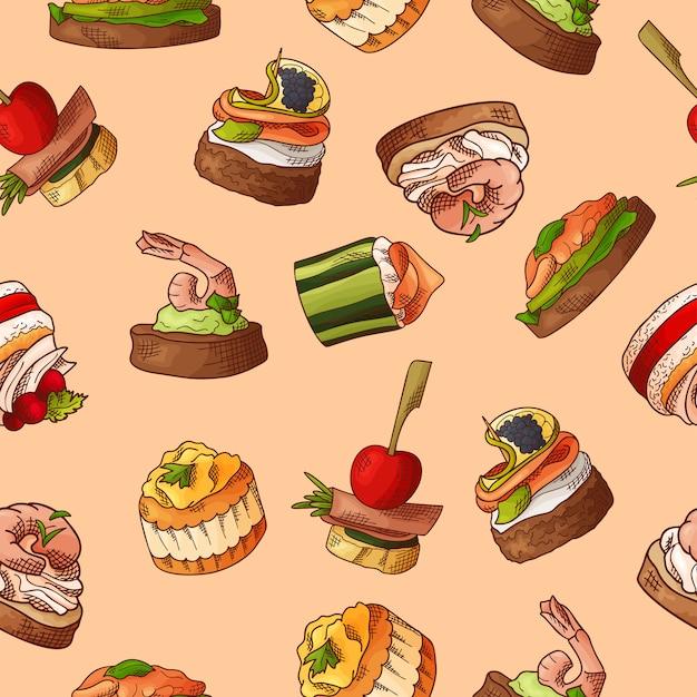 Безшовная картина с едой пальца. эскиз стиля повторяется фон. брускетта, бутерброды, канапе и тапас. Premium векторы