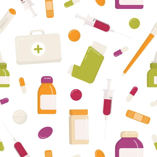 Бесшовный фон с аптечка, ингалятор, таблетки, лекарства, лекарства, шприц и другие медицинские инструменты на белом фоне. иллюстрация плоского шаржа красочная для упаковочной бумаги, обоев. Premium векторы