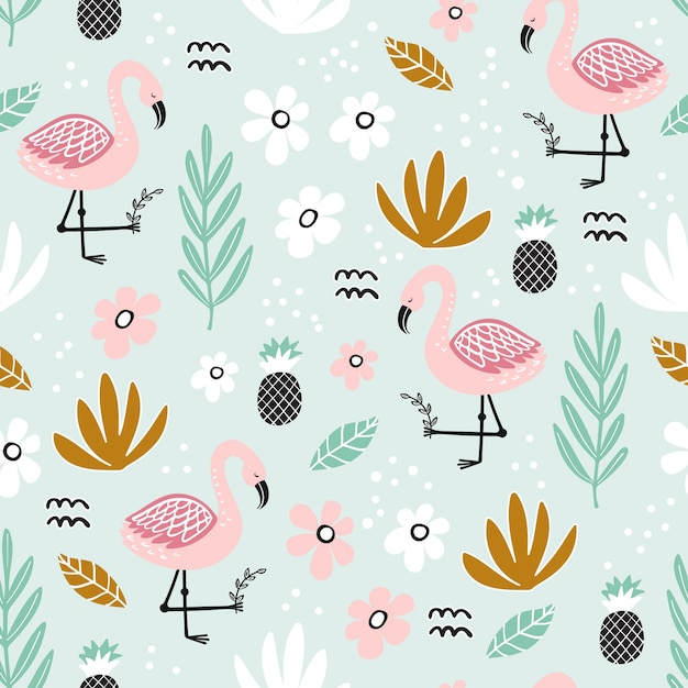 Seamless pattern with flamingo and hand-drawn elements Premium Vector