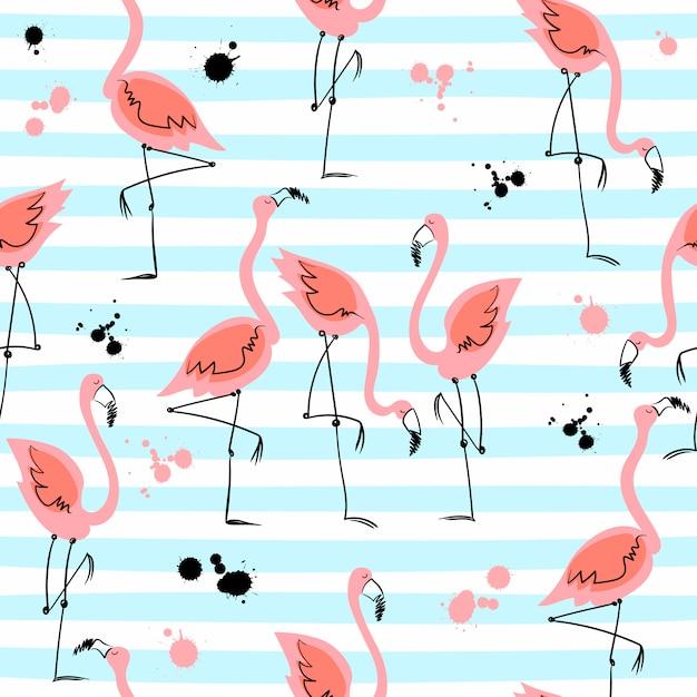 Seamless pattern with flamingos Premium Vector